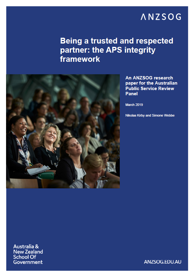 Being a trusted and respected partner: the APS integrity framework (cover)