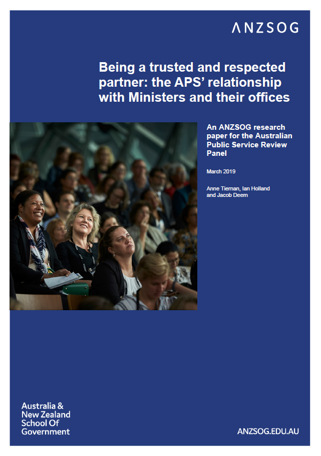 Being a trusted and respected partner: the APS' relationship with Ministers and their offices (cover)